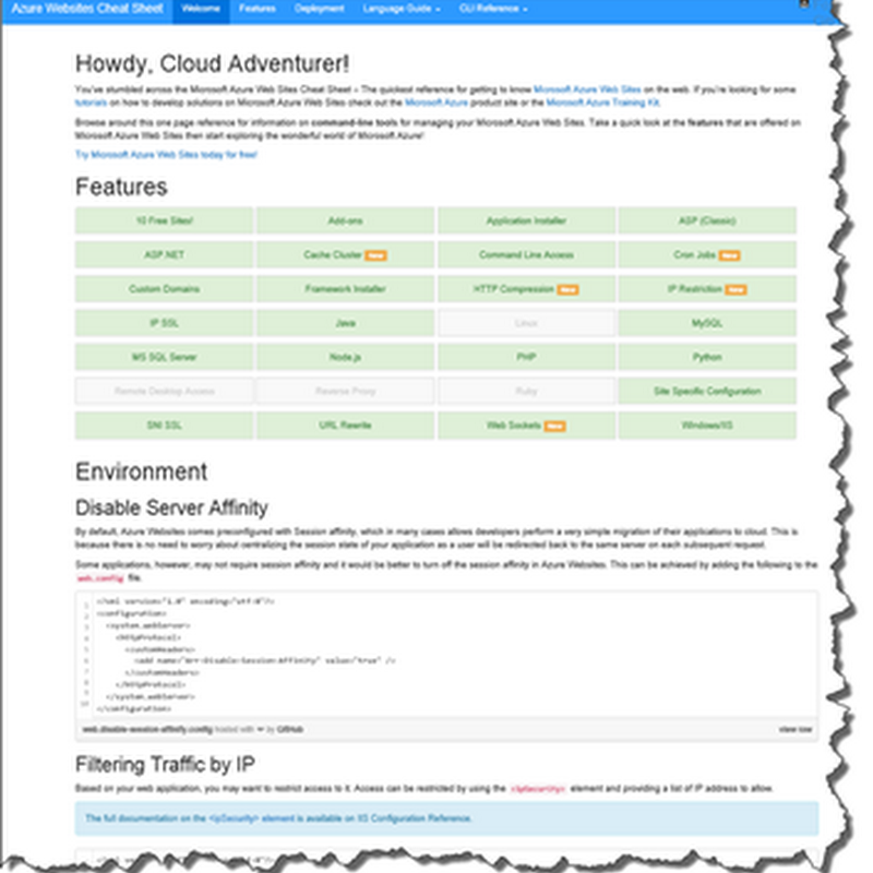 Microsoft Azure Web Site Cheat Sheet