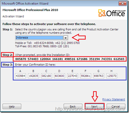 ms office 2010 installation id
