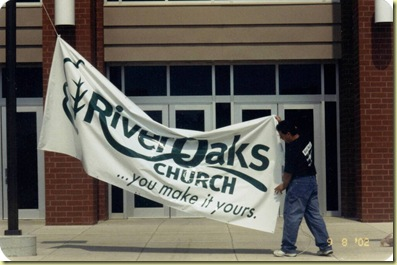 #4 9-8-2002 Putting up Banner First Time