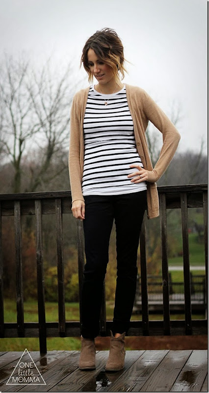 Stripes, boyfriend cardigan, black denim and suede ankle boots