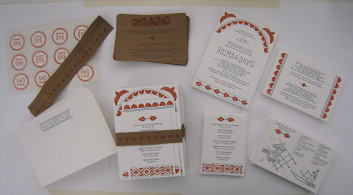 Here's the full invitation suite, which had kraft paper accents.