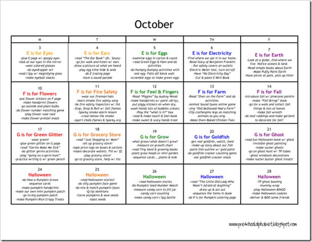 October Calendar Ideas For Preschool : Preschool alphabet plan for october