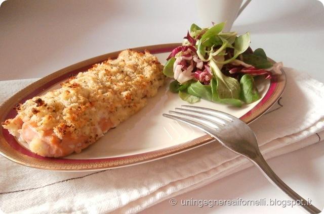 salmone panato senape digione lorainne pascale lime pane