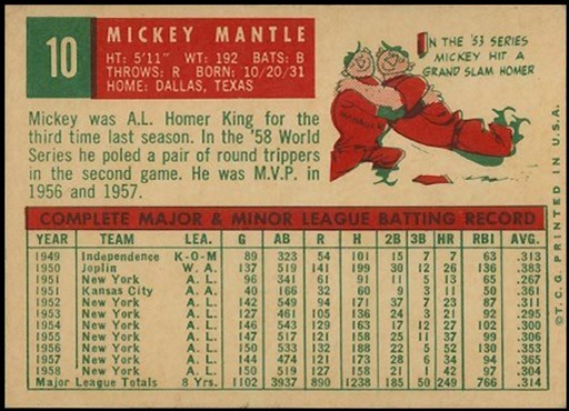 1959 Topps 10 mickey mantle back