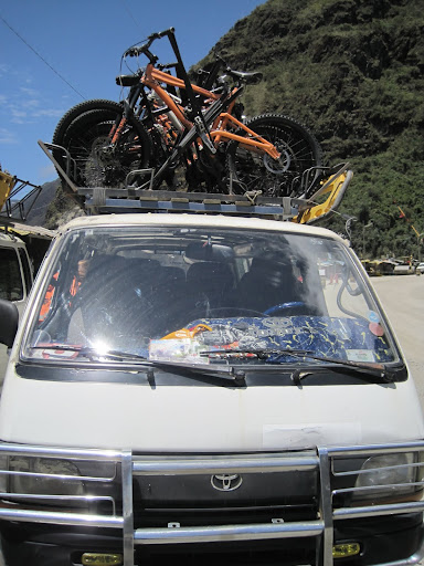 Our bikes lined up on one of the vans.