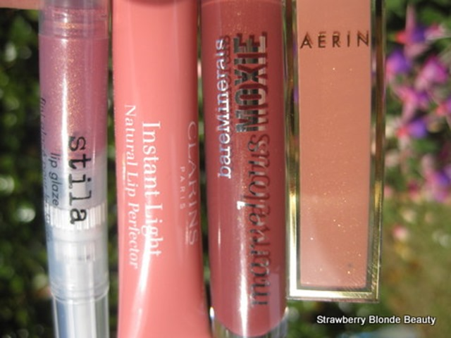 Stila-Hibiscus-Clarins-Lip-Perfector-Candy-Shimmer-Bare-Minerals-Moxie-Maverick-Aerin-Sunset-lip-gloss