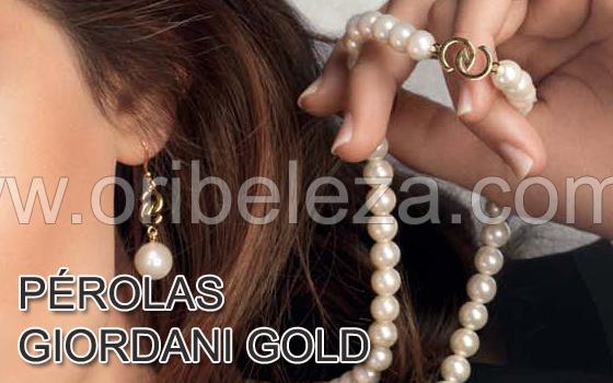 Brincos e Colar Pearl Giordani Gold da Oriflame