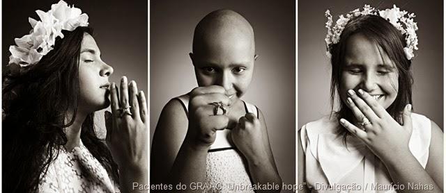 """Pacientes do GRAAC participam de sessão de fotos para a ação """"Unbreakable hope"""" - Divulgação Maurício Nahas"""