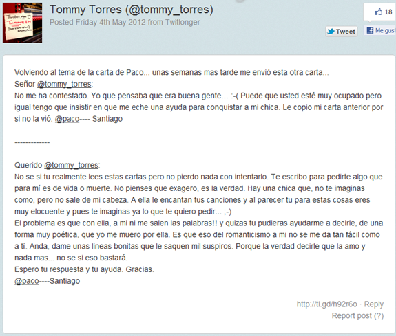 carta a tommy torres