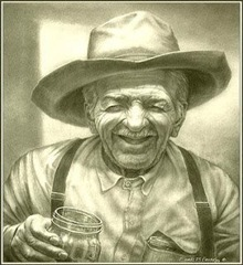 old timer with glass jar