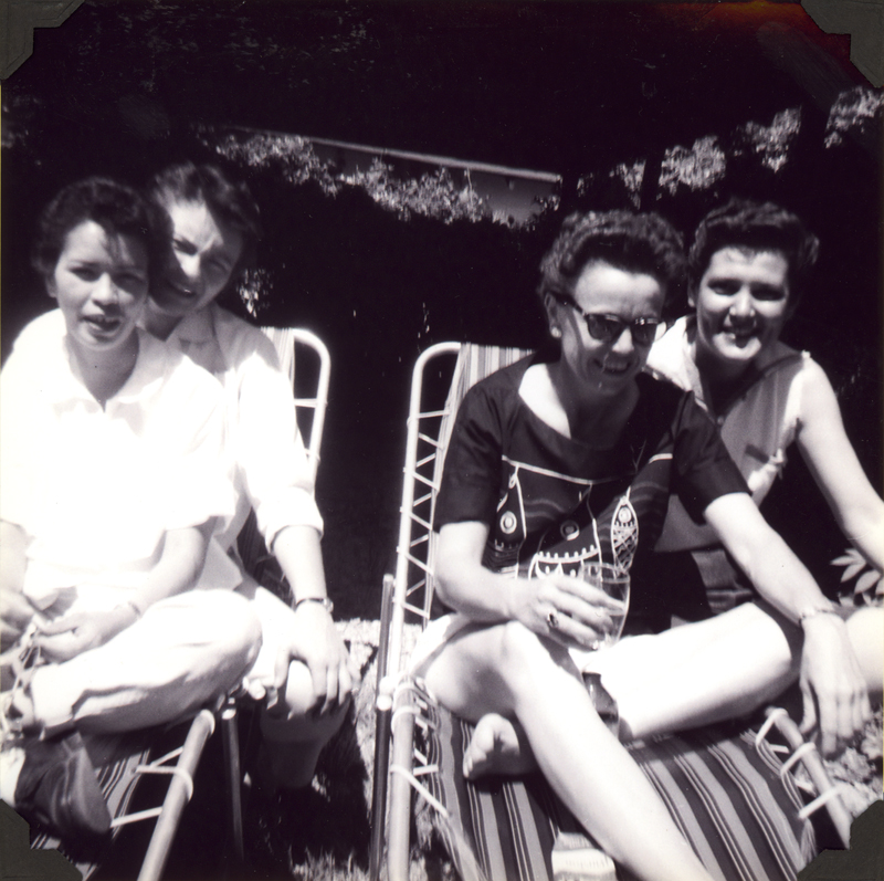 Party at Liz's backyard with (from left) Anita Ornales, Brenda Weathers, Liz, and Dee. 1961.