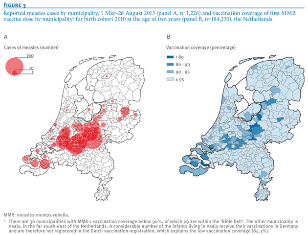 Reported measles cases by municipality, 1 May - 28 August 2013 (panel A, n=1226) and vaccination coverage of first MMR vaccine dose by municipality for birth cohort 2010 at the age of two years (panel B, n=184230), in the Netherlands. Graphic: Knol, et al., 2013