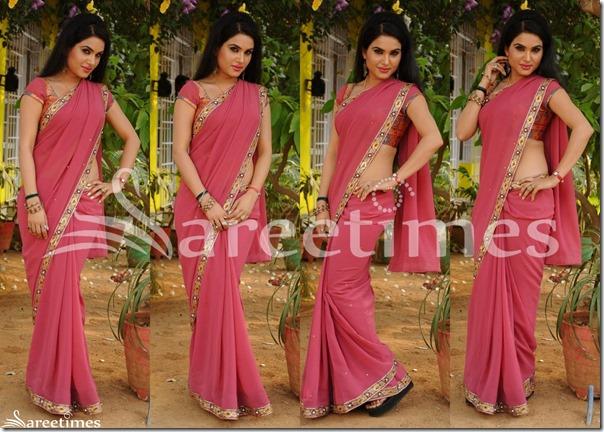 Kavya_Singh_Pink_Georgette_Saree
