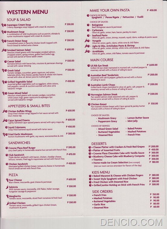 Crowne Plaza Manila Galleria Room Service Menu 3