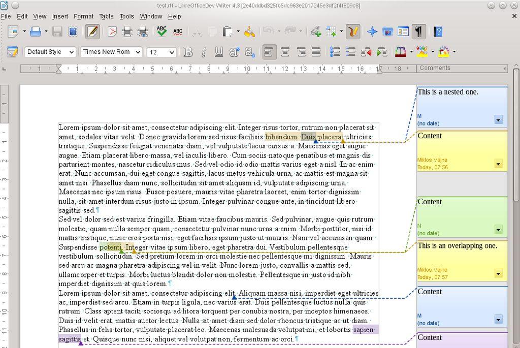 LibreOffice 4.3 - gestore commenti