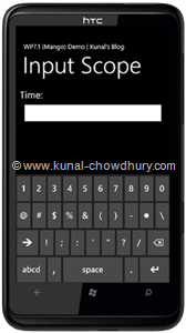 WP7.1 Demo - InputScope (Time)