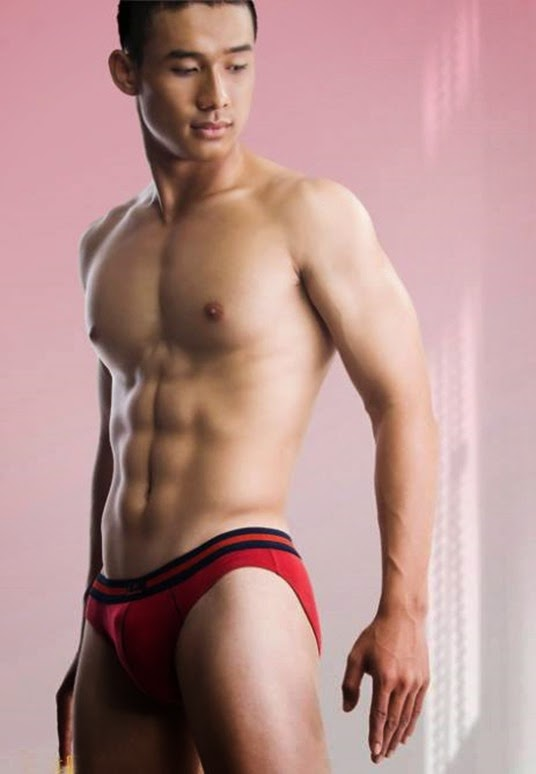 asian guy in red briefs