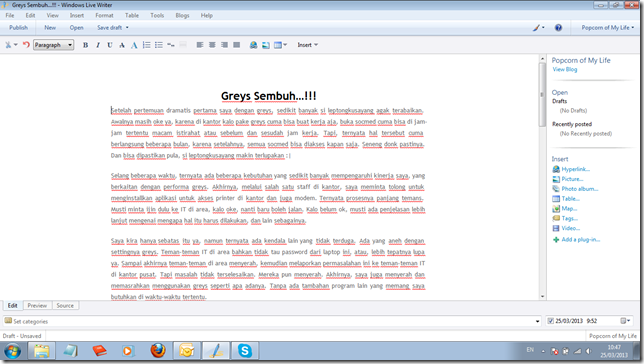tampilan windows live writer