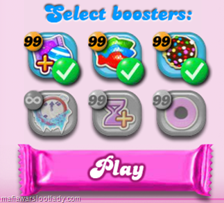 The boosters that you checked will appear on the first screen of your