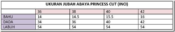 UKURAN JUBAH ABAYA PRINCESS CUT