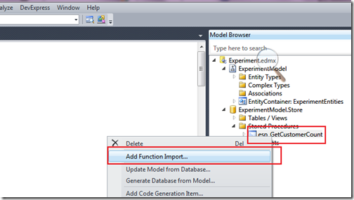 Fuction import for entity framework stored procedure output parmeter