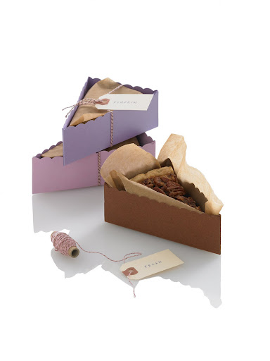 This Martha Stewart slice of pie box is a beautiful way to send guests home with dessert -- it's also a good way to label your leftover pies.