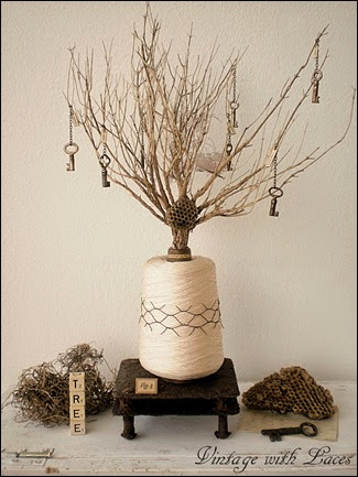 Tree of Happiness - Mixed Media Assemblage by Vintage with Laces
