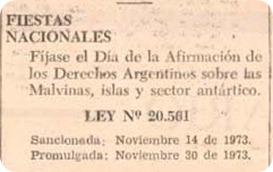 afirmación malvinas argentinas