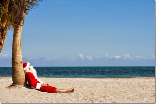 "Usa. Florida. Miami Beach. Key Byscaine. Crandon Beach. ""Santa"" resting on the beach. MODEL RELEASE # 880"