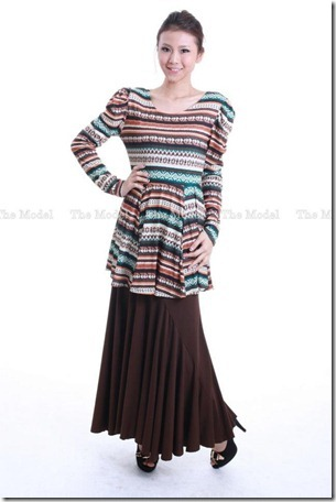 peplum tribal brown