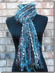 blue and brown scarf