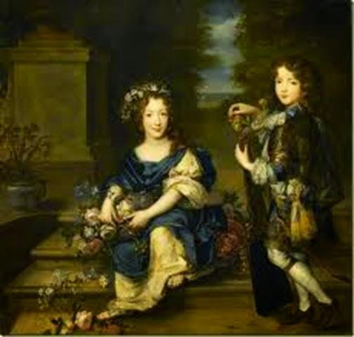 Borbón-Conti Luis, el conde Vermandois, en compañía de su hermana Mademoiselle de Blois
