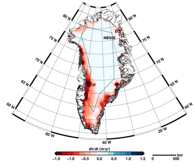 Map of elevation change of Greenland between January 2011 and January 2014 derived from along-track processing of three full CryoSat-2 cycles. The black polygon indicates the mode mask of CryoSat-2. Inside the polygon LRM and outside SARIn data were acquired. NEGIS: Northeast Greenland Ice Stream, JI: Jakobshavn Isbræ, ZI: Zacharias Isstrømen. Graphic: Helm, et al., 2014