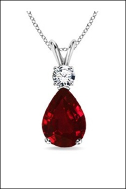 Pear Ruby and Diamond V-Bale Pendant
