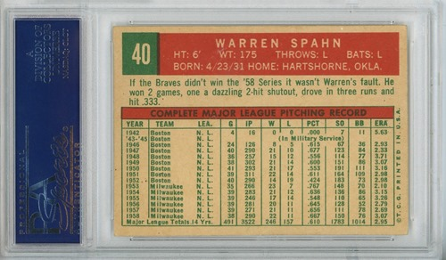 1959 Topps 40 Warren Spahn born in 1931 alternate back