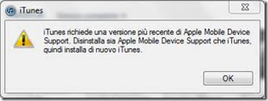 Errore iTunes richiede una versione più recente di Apple Mobile Device Support. Disinstalla sia Apple Mobile Device Support che iTunes. Quindi installa di nuovo iTunes