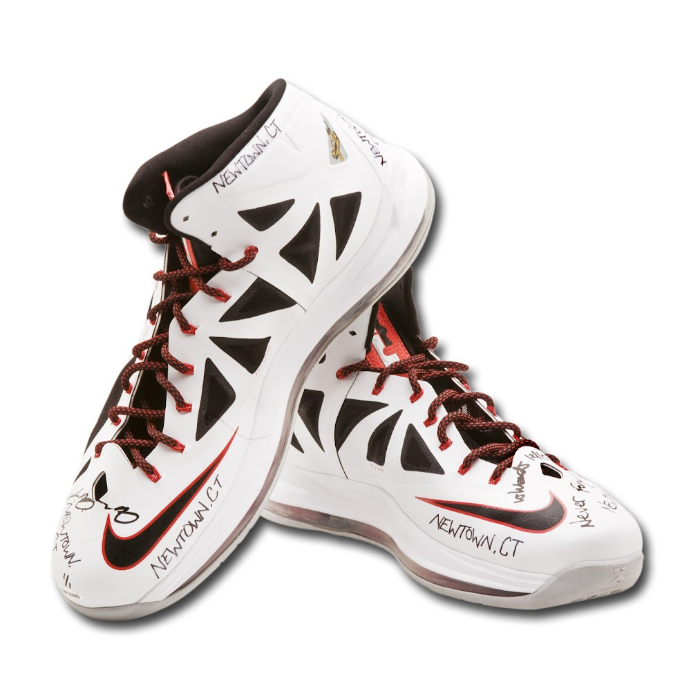 32070dafac2 LeBron8217s Gameworn Shoes Auctioned to Benefit Newtown Families ...