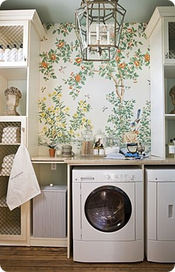 floral wallpaper laundry room