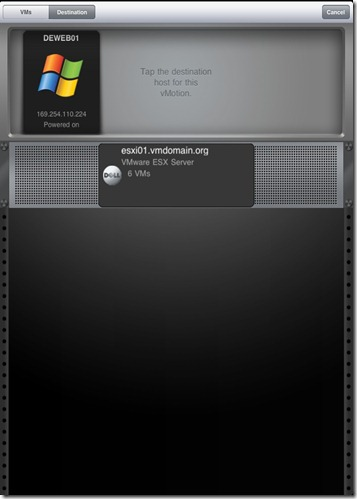 iPad vSphere Client VM vMotion