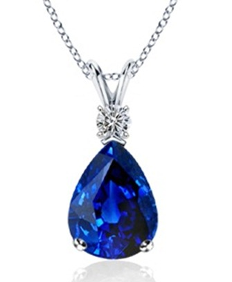 Pear Sapphire and Diamond V-Bale Pendant