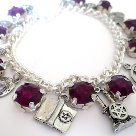 Purple Rhinestone Wicca Charm Bracelet by Janet Skoyles - Artistic Objects Jewelry