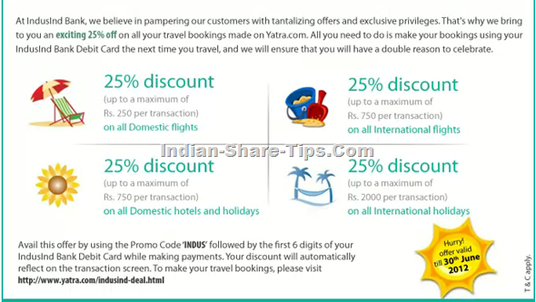 Indusind 25% Discount on Travel & Hotel Booking with Yatra
