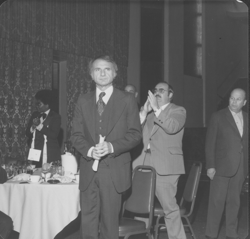 American Civil Liberties Union (ACLU) Southern California Gay Rights Chapter awards banquet at the Hollywood Palladium honoring Reverend Troy Perry. Photograph includes Ed Edelman (front) and David Glasscock (glasses). April 29, 1978.