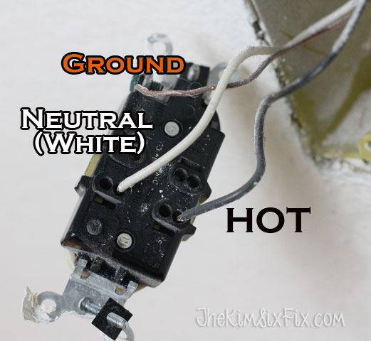 White Black and Copper wires in outlet