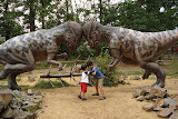 Kai and Eidan with their role models at Dino Park
