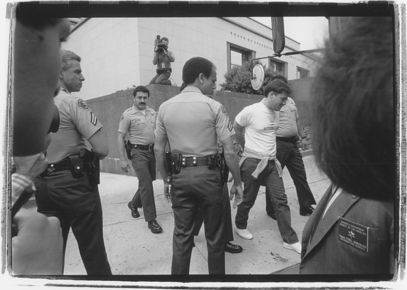 Arrests at the Board of Supervisors protest. May 16, 1989.