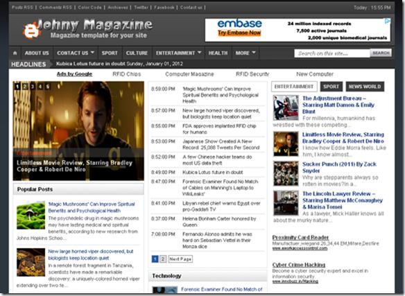 Johny magazine blogger template