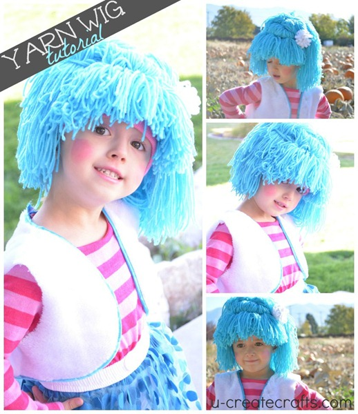 Adorable DIY Yarn Wig Tutorial at u-createcrafts.com