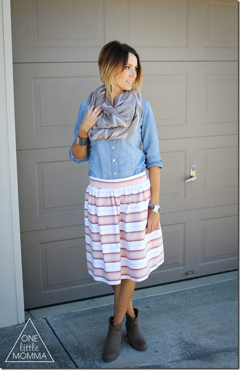 Mixed prints are hot this Fall. Pair an Ikat scarf from @ShopGracieB with a striped skirt. Throw on a chambray shirt and ankle boots to complete the look. #ShopGracieB