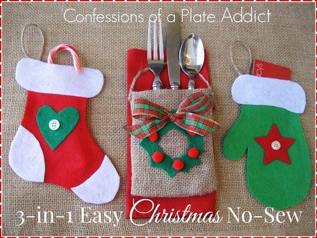 In no sew christmas ornament utensil pocket gift